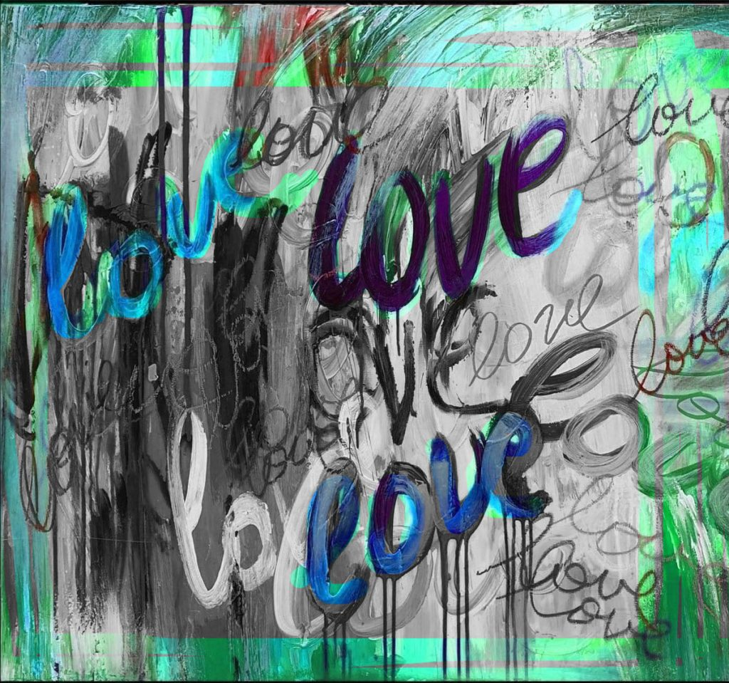 grafitti-style illustration repeating the word LOVE in black and white with blue and green splashes